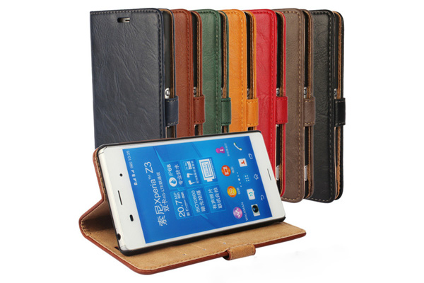 Sony Z4 leather wallet stand case