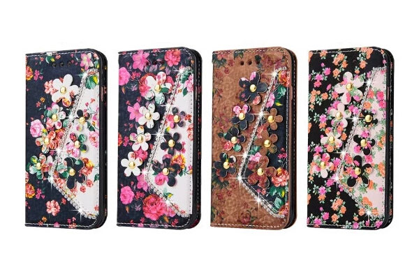 Flower and diamond leather cover