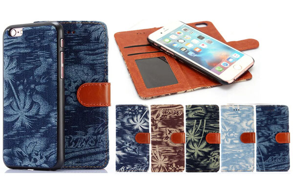 Jeans color coconut tree design 2 IN 1 leather cover