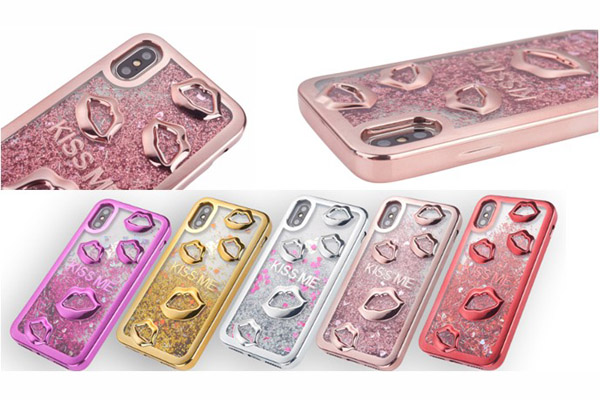 iPhone x 3D Lips Quicksand Case