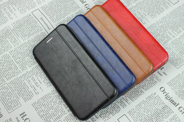 Curved edge magnet folio leather  cover